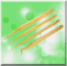 Luxorika Set Lot 4 Gold Plated Tweezers Eyelash Extension -lifetime Repl. Warr.