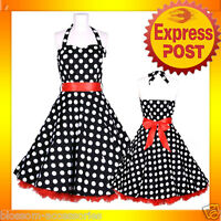 RK57 Rockabilly  Polka Dot Halter Work Dress Black 40s 50s Retro Emo Pin Up Plus