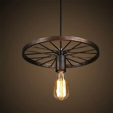 Rusty Rustic Wheel Iron Industrial Vintage Retro Pendant Lamp Ceiling Light