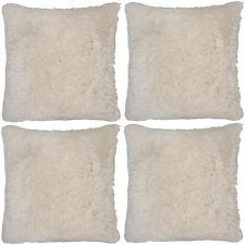 4 x Super Soft Cream Faux Fur Cushion Covers Cuddly Shaggy 43x43cm