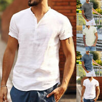 Men's Linen Short Sleeve Summer Solid Shirts Beach Casual Cool Tops Tee Holiday