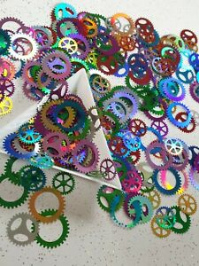 Steampunk Party Table Confetti Cogs Gear Wheels Decoration Scatter Holographic