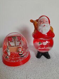 vintage snow globes Christmas Santa red plastic kitsch retro decor