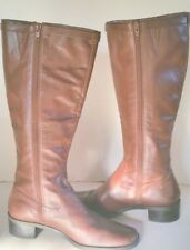 Michelle D Tall Flat Ladies Leather Brown Boots Made in Brazil Size 8 1/2W