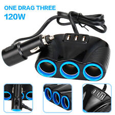 New listing Us Stock 1set Cigarette Lighter Socket Splitter 12V 3x Usb Charger Power Adapter