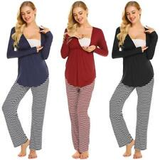Women V Ausschnitt Langarm Schwanger Stillen Pyjama Set Baumwolle Nachtwäsche DE