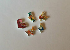 5 ALICE AND WONDERLAND FLOATING LOCKET CHARMS CHESHIRE CAT MAD HATTER RABBIT