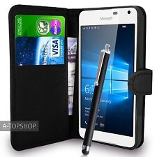 Black Wallet Case PU Leather Book Cover For Nokia / Microsoft Lumia 650 Mobile