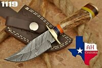 HAND FORGED DAMASCUS STEEL HUNTING KNIFE W/ STAG & BRASS GUARD HANDLE AH-1119