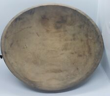 "Antique round Primitive Wooden Dough Bowl Old 15"" w/good shrinkage"