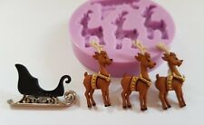 REINDEERS AND SLEIGH SILICONE MOULD FOR CAKE TOPPERS CHOCOLATE ETC