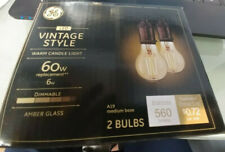 GE Vintage 60W replacement 6W Warm candle Amber Glass dimmable A19 base 2 bulbs