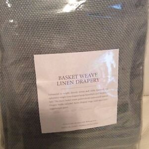 Restoration Hardware Basket Weave Linen Drapery 50x108L Spruce Grommet Top