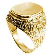 Men's 14k Solid Yellow Gold Signet Engravable Ring