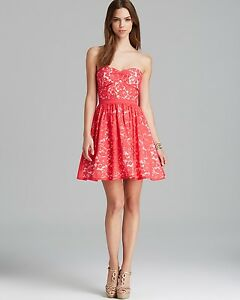 AQUA Coral Strapless Lace Overlay Fit and Flare Dress Size: 12