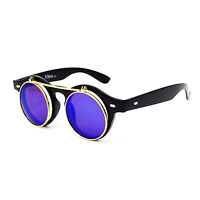 Flip up circle Steampunk Glasses Goggles sunglasses Emo Retro vintage cyber punk