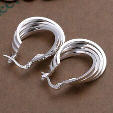 Fashion 925 Silver plated Jewelry 4Line Hoop Earrings For Women E157