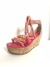 fa82569c82c06 Women s TORY BURCH cork   pink fabric Petra Mid wedge sandals Sz 10