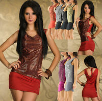Sexy Women Clubbing Glittered Ladies Mini Low Back Party Dress Size 6 8 10 Top S