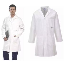 Portwest C851 Lab Workshop Coat 100% Cotton White Size SMALL Unisex