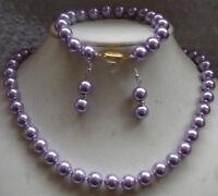 Pretty 8mm Lavender Purple South Sea Shell Pearl Necklace Bracelet Earrings Set