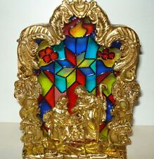 NATIVITY Stained Glass/ Gold Toned Nativity Candle Holder - New