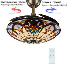 "Tiffany 42"" LED Ceiling Fan Light Retractable Blades Lamp Remote Reverse Airflow"