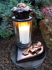 Messig-Grablaterne Grablampe Grableuchte  Grablicht Kerze Engel Grabstein