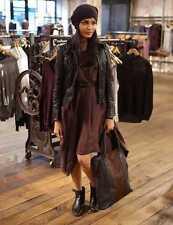 AllSaints Spitalfields Women's Brown BELVEDERE Leather Biker Jacket UK 8