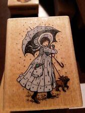 Hollie hobbie,umbrella, blue outfit,dog stamp affair, B7,rubber , wood