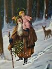 Artist Signed Mailick 1910 brown robed Santa Claus Christchild Christmas Germany