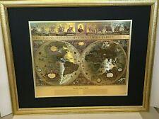 "BLAEU Gold Foil Wall Globe World Map Matted in Gold Gilt Wooden Frame 30"" x 25"""