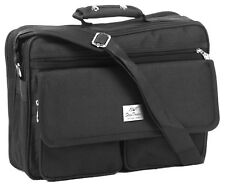 Hochwertiger Flugumhänger / Arbeitstasche / Flugbegleiter, schwarz, 2 Vortaschen