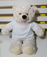 BUILD A BEAR WHITE TEDDY BEAR IN PINK AND WHITE TOP PLUSH TOY SOFT TOY 26CM TALL