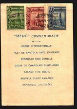 1927 Philatelic Exhibition Uruguay RR humorous menu card FDC #330/32