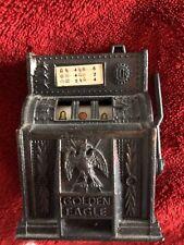 Vintage Gold Eagle Die Cast Slot Machine Pencil Sharpener Working Condition