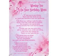 Graveside Card MISSING YOU ON YOUR BIRTHDAY MUM Memory Grave Verse Poem Memoriam