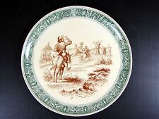 Assiette parlante n° 3 faïence Creil Montereau décor Don Quichotte, D - 20,4 cm