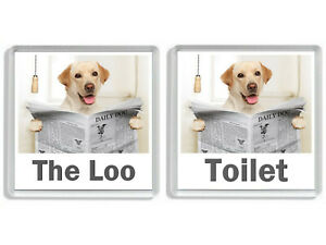 GOLDEN LABRADOR READING A NEWSPAPER ON THE LOO Novelty Toilet Door Signs