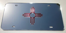 RED ZIA SYMBOL NEW MEXICO 4 DIRECTIONS  Mirror  License Plate Laser Cut  Chrome