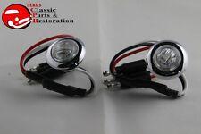 Dual Function Mini Clear Stainless Turn Signal Blinker Lights Truck Hot Rat Rod