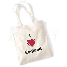 'I love (Heart) England' Cotton Canvas Reusable Shopping Tote Bag