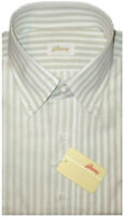$595 NEW BRIONI WHITE & LT SAGE SUMMER COTTON LINEN STRIPE DRESS SHIRT EU 43 17
