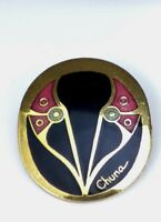Vintage Cloisonne Oval Brooch Pin Gold Tone Signed Chuna Artique Ltd China