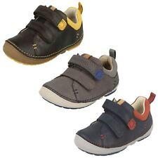 Clarks Little MIA Ragazze Scarpa ARGENTO Tg UK per Bambini Ragazzi Hook Loop in pelle