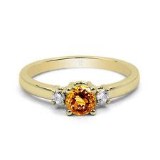 Round Three-Stone Yellow Gold Fine Rings