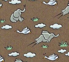 "Sweet New Hermes Silk Tie Lt Brown/Green ""Happy Flying Elephant"" Ex Rare Mint!"