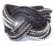 Black Buckle Trendy Bracelet with Button