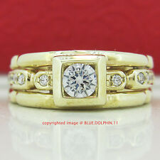 Genuine Solid 9ct Yellow Gold Engagement Wedding Dress Ring Simulated Diamonds
