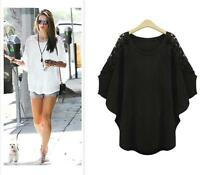 Fashion Women Summer Loose Batwing Sleeve Dolman Blouse Lace T-Shirt Casual Tops